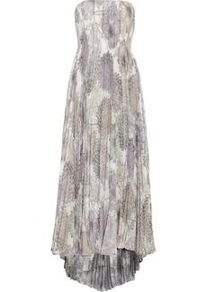 Badgley Mischka Floral-print chiffon gown
