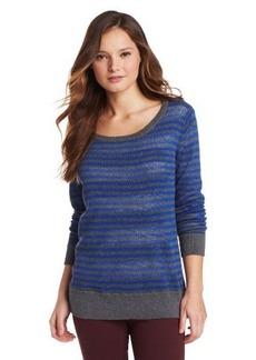 Michael Stars Women's Stripe Reversible Long Sleeve Crew Neck Sweater