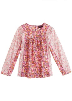 Liberty mixed floral pleated top in pink
