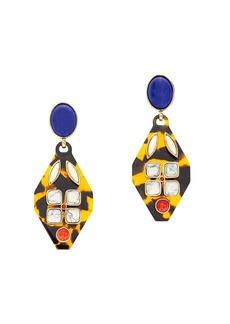 Tortoise and stone earrings