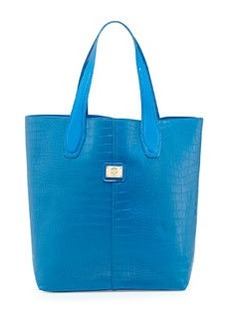Christian Lacroix Charlene Croc-Embossed Tote Bag, Blue