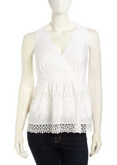 Laundry by Shelli Segal Embroidered Crochet-Inset Voile Top, Optic White