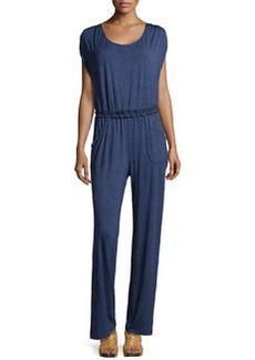 Max Studio Jersey Scoop-Neck Jumpsuit, Heather Indigo