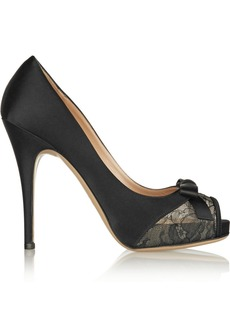 Valentino Satin and lace peep-toe pumps