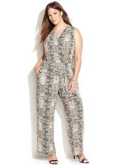 Calvin Klein Plus Size Sleeveless Snakeskin-Print Jumpsuit