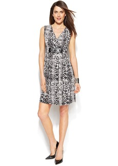 Alfani Petite Sleeveless Python-Print Dress