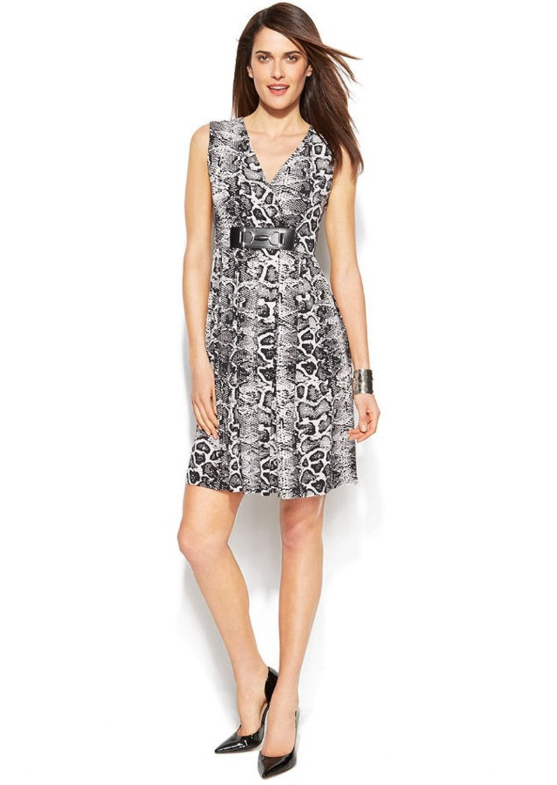 Alfani Sleeveless Python-Print Dress
