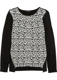 Tibi Stretch-jersey and leopard-jacquard sweater