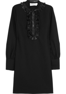 Saint Laurent Leather-trimmed wool-crepe dress