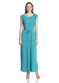 Calvin Klein Women's Cap-Sleeve Maxi Dress With Lace