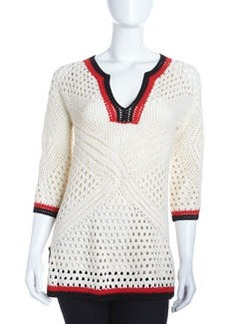 Catherine Malandrino Mixed-Crochet Tunic, Ivory
