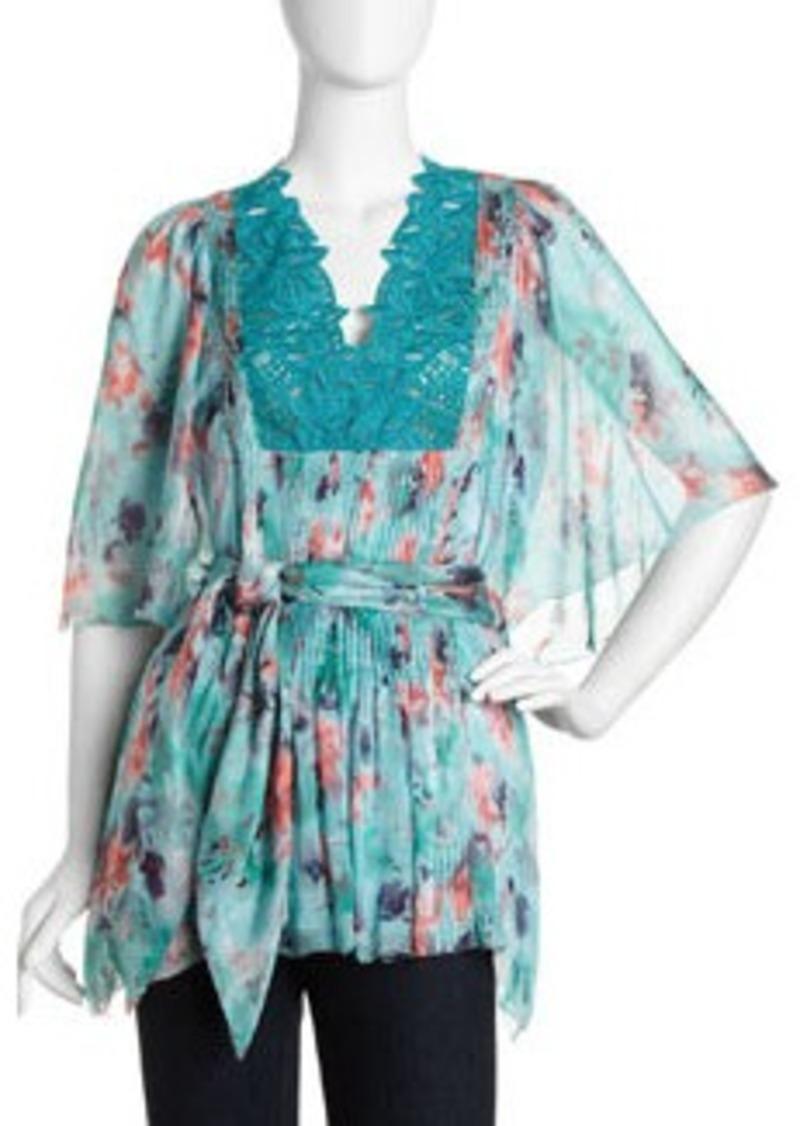 Catherine Malandrino Floral-Print Tie-Waist Flutter-Sleeve Blouse