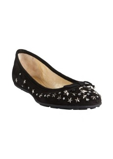 Jimmy Choo black suede star studded crystal 'Willow' ballet flats
