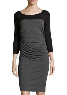 Laundry by Shelli Segal Colorblock Ruched Jersey Dress, Dark Charcoal/Black