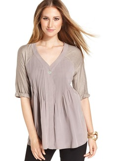 Style&co. Three-Quarter-Sleeve Pleated Top