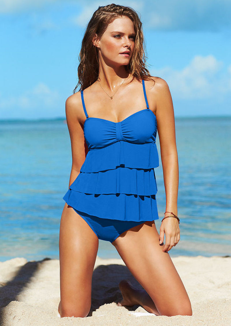 Kenneth Cole Reaction Tiered-Ruffle Tankini Top