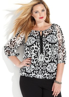 INC International Concepts Plus Size Three-Quarter-Sleeve Printed Top