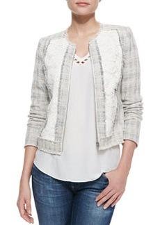 Fringe-Trim Tweed/Lace Jacket   Fringe-Trim Tweed/Lace Jacket