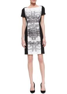 Kay Unger New York Short Sleeve Baroque Front Dress, Black/White