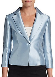Teri Jon Three-Quarter Sleeve Gazar Blazer