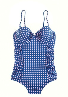 Short torso grid dot underwire tank