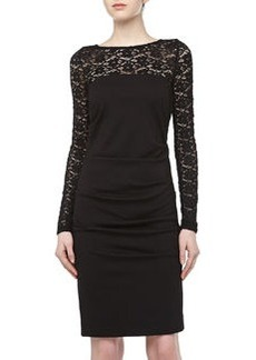 Nicole Miller Long-Sleeve Lace/Stretch Dress, Black