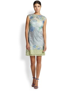 Kay Unger Digital-Print Lace Shift Dress
