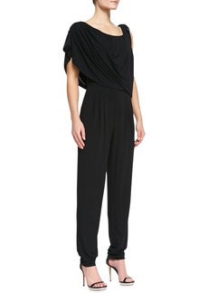 Escada Tie-Shoulder Draped Jumpsuit, Black