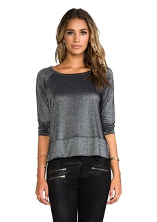 Splendid Drapey Lux Tee in Metallic Silver