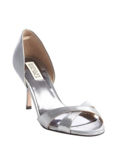 Badgley Mischka shiny silver textile cross strap heel sandals