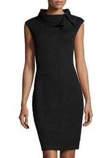 St. John Ruffle-Collar Knit Dress, Onyx