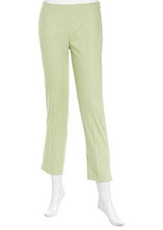 Lafayette 148 New York Thin-Stripe Side-Zip Ankle Pants, Honeydew