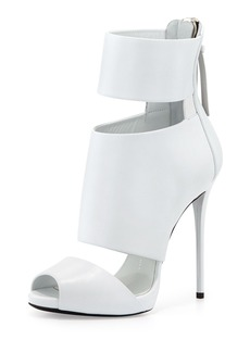 Giuseppe Zanotti High-Heel Banded Peep-Toe Cage Bootie, White