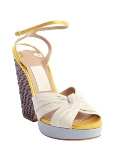 Salvatore Ferragamo ivory leather and gold satin woven heel wedge sandals