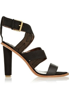 12th Street by Cynthia Vincent Alisa printed and snake-effect suede sandals