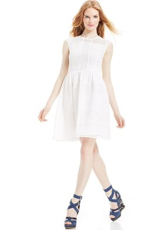 Betsey Johnson Cap-Sleeve Eyelet Lace Dress