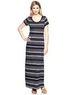 Striped roll-sleeve maxi dress