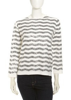 Joan Vass Wavy Sequin Crewneck Sweater, White/Black