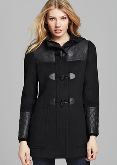 Calvin Klein Faux Leather Trim Toggle Coat