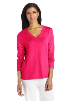 Hue Sleepwear Women's Solid Long Sleeve V-Neck Tee