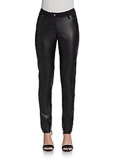 Saks Fifth Avenue BLACK Vegan-Leather Paneled Pants