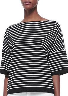 Lafayette 148 New York Elbow Sleeve Horizontal Striped Top, Black/White