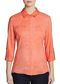 Elie Tahari Val Mixed-Media Shirt