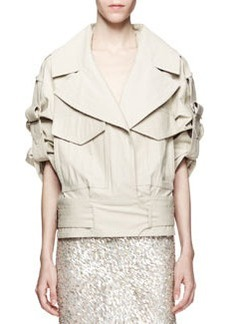 Jason Wu Cropped Cotton-Stretch Utility Trench Jacket, Beige