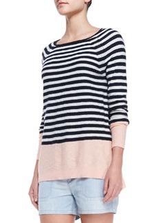 Vince Colorblock Striped Sweater, Grapefruit