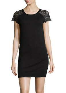 Susana Monaco Lace-Inset Knit Dress, Black