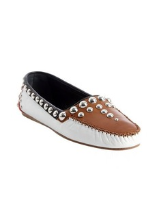 Prada white and brown and black leather metal studded moccasins
