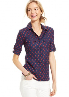 Charter Club Three-Quarter-Sleeve Printed Linen Top