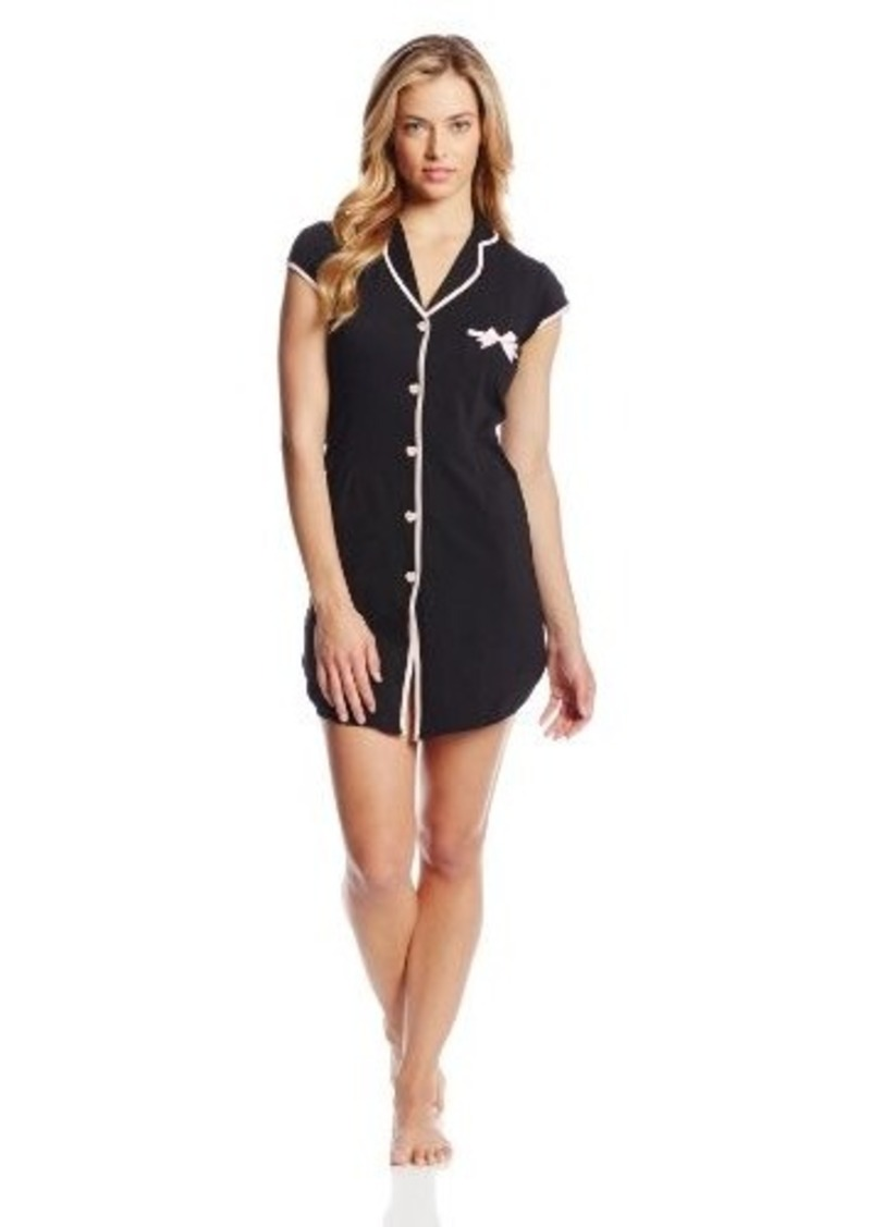 Betsey Johnson Women's Stretch Cotton Notch Collar Sleepshirt