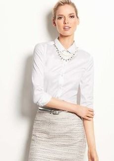 Petite Rounded Collar Button Down Shirt